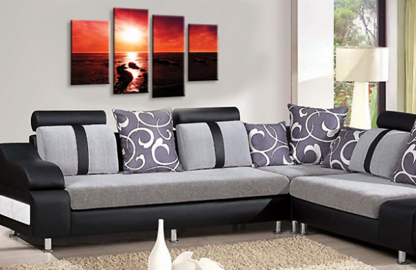 Sunset Seascape Canvas Picture Wall Art Beach Print Gold Orange